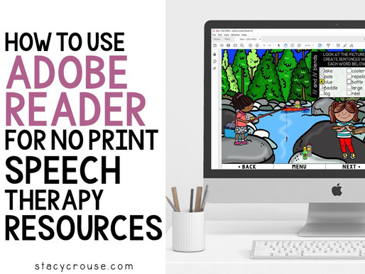 How To Use Adobe Reader for No Print Speech Therapy Resources