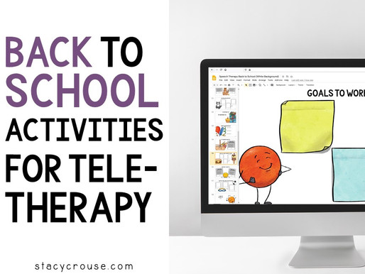 Back To School Activities for Teletherapy