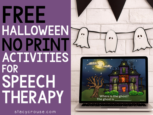 Free Halloween No Print activities for Speech Therapy