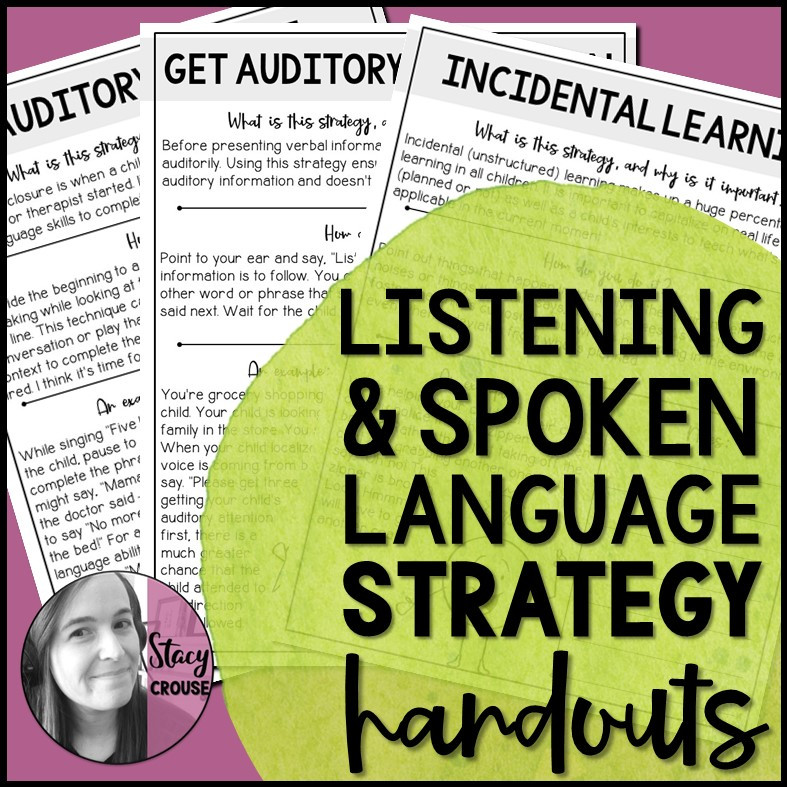 Listening and Spoken Language Strategy Parent Handouts for AVT