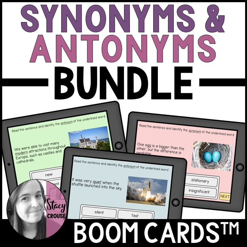 BUNDLE Synonyms and Antonyms Vocabulary BOOM CARDS™