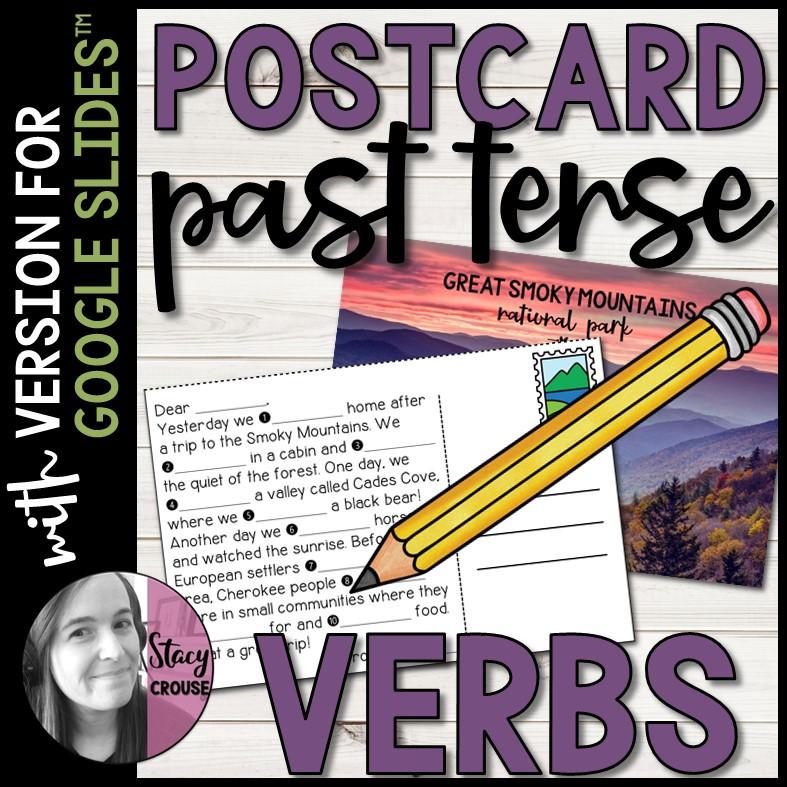 Postcard Past Tense Regular and Irregular Verbs for Google Drive™