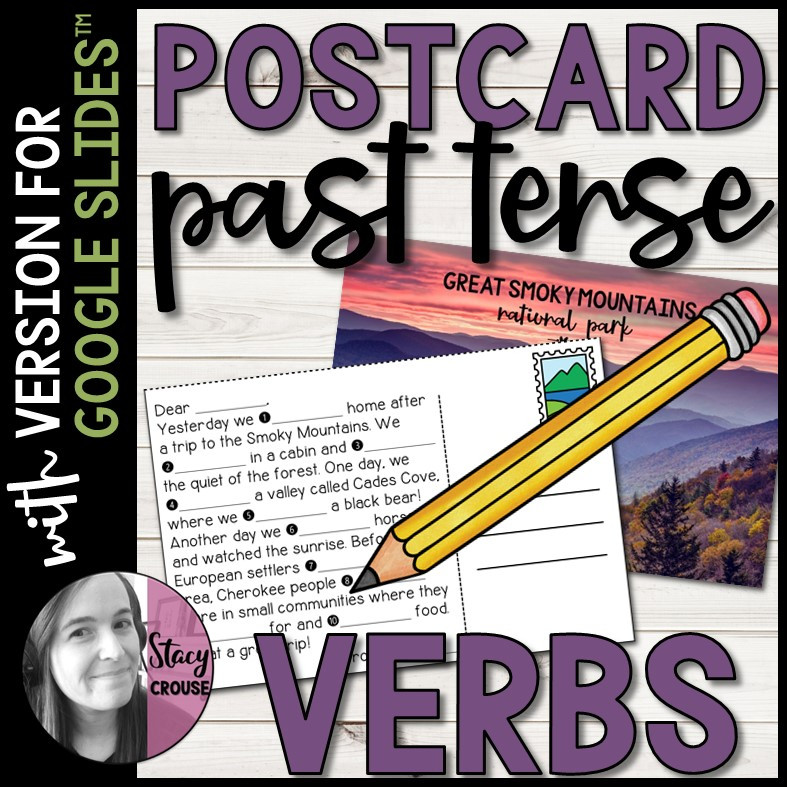 Postcard Past Tense Regular and Irregular Verbs for Google Drive™