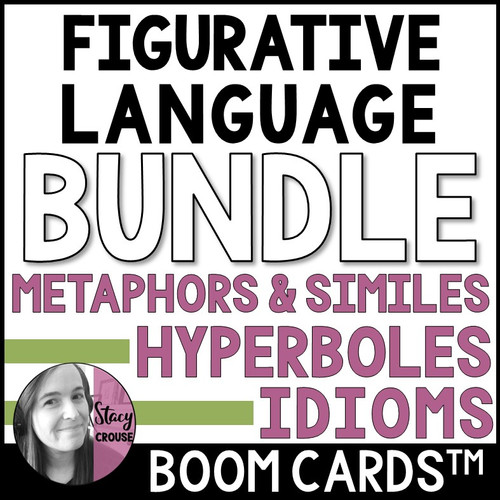 Figurative Language BUNDLE Hyperboles, Metaphors, Similes and Idioms BOOM CARDS™
