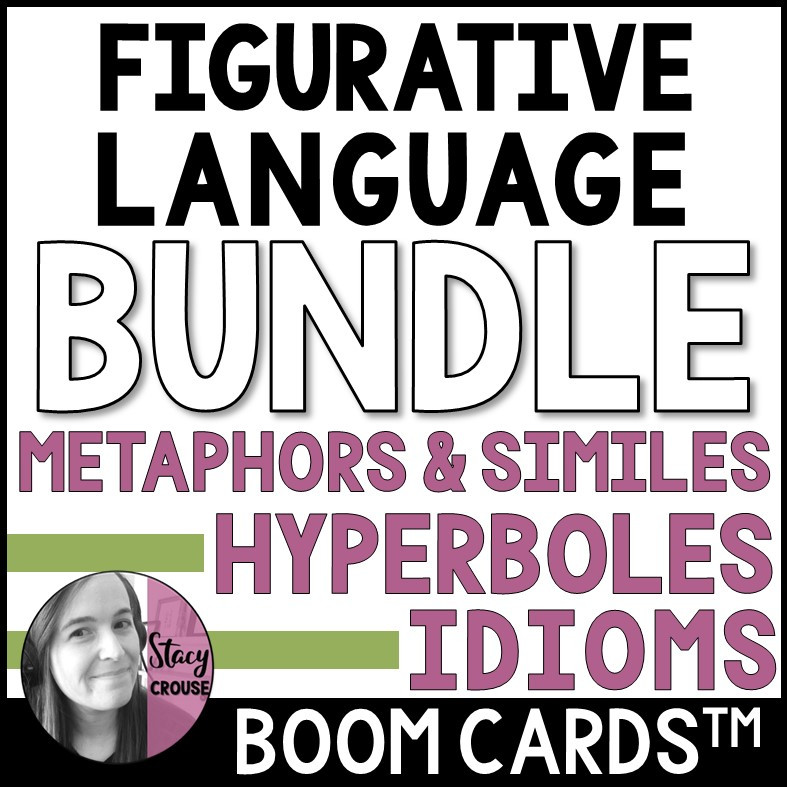 Figurative Language BUNDLE Hyperboles, Metaphors, Similes and Idioms BOOM CARDS™