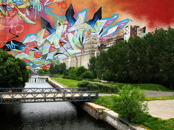 Graffitied Sky in Montreal