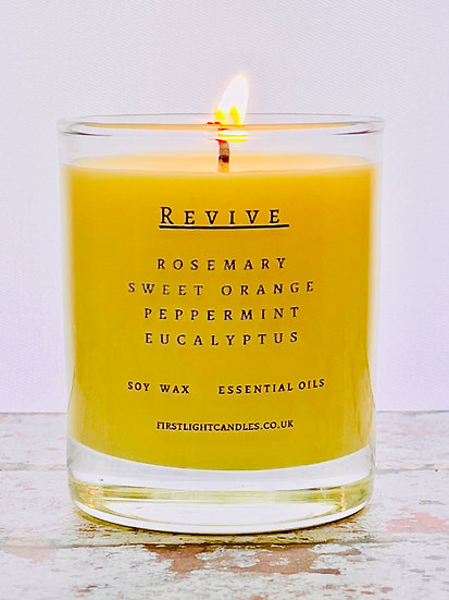 REVIVE 20cl Soy Candle. Rosemary, Orange, Peppermint & Eucalyptus Essentia Oils