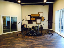 setting up drums for tracking