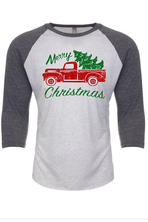 Merry Christmas with red truck