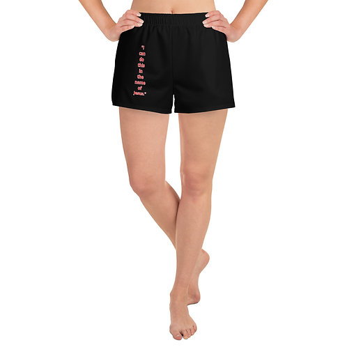 """In the name of Jesus."" Women's Athletic Short Shorts"