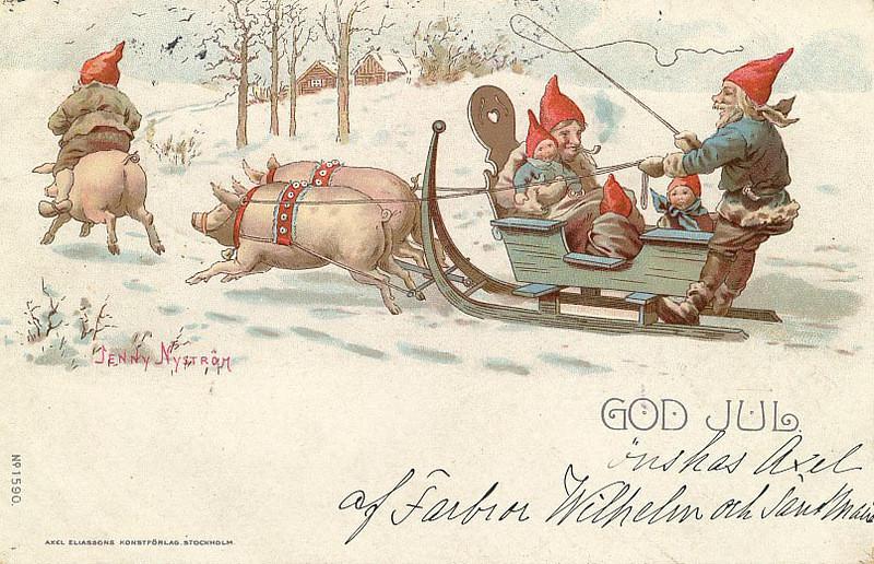 Old Swedish Postcard - Handwriting