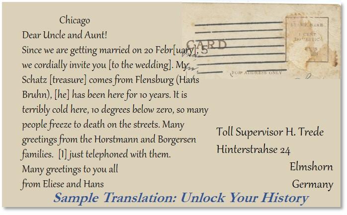 Postcard Translation from German to English