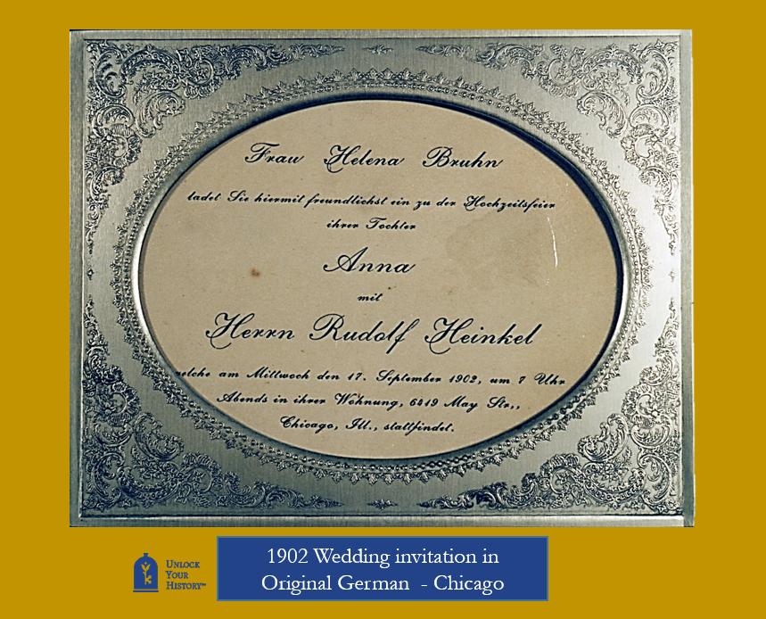 German wedding invitation in Chicago