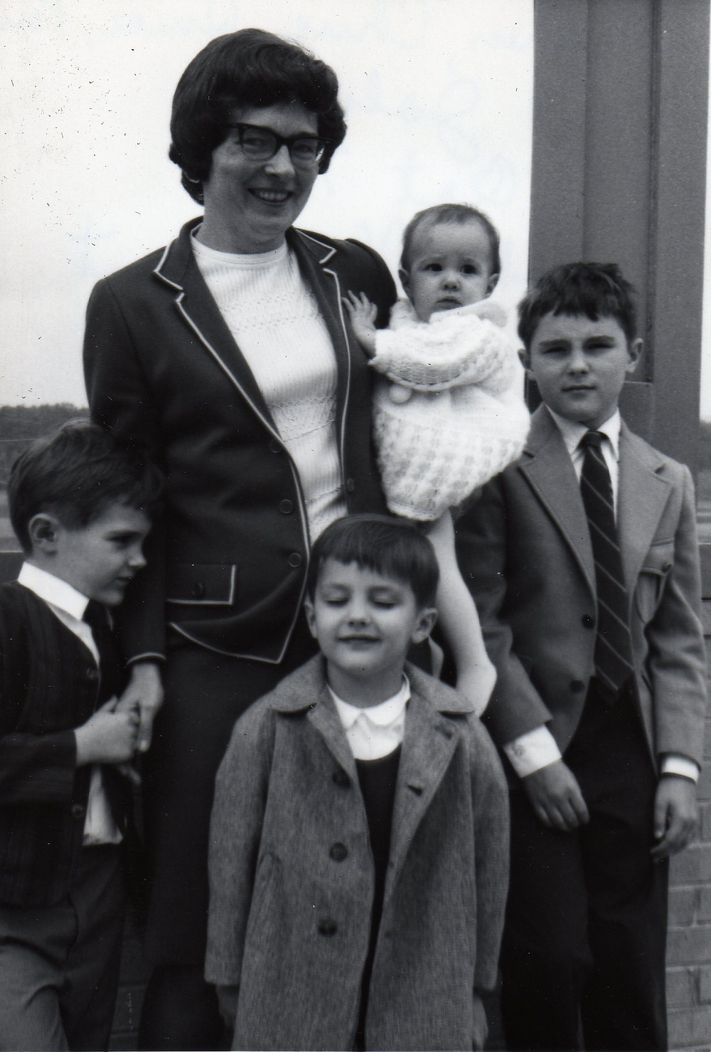 Christine and her kids all dressed up