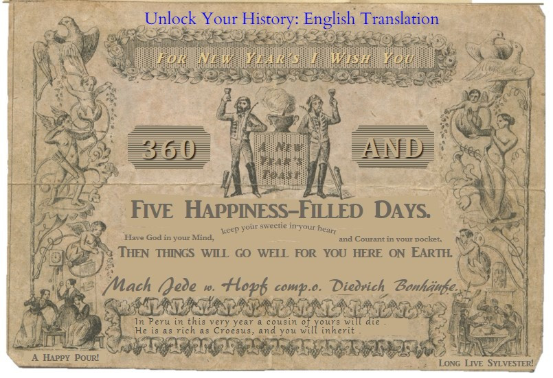 English Translation of German New Year's coupon - front