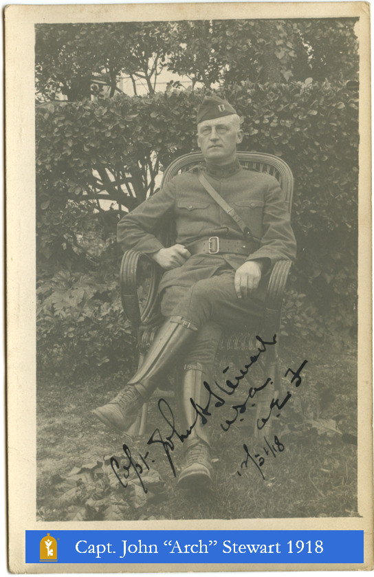 Photo of Capt. Stewart seated in uniform - WWI