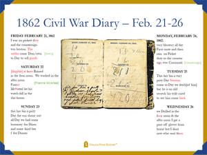 1862 Civil War Diary Excerpt - Transcription