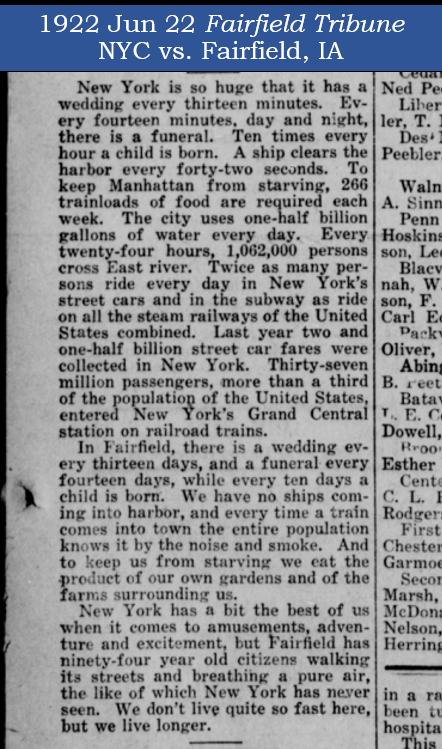 Fairfield IA vs. NYC -1922