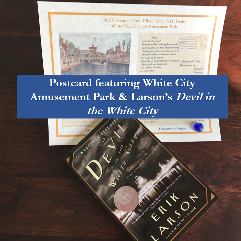 Postcard featuring White City Amusement Park & Devil in the White City