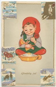 Old Danish Postcard with Tomtar