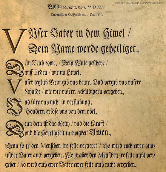 """Our Father"" in German Fraktur"