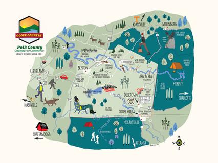 Polk county, TN map
