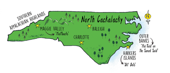 Regional dialect map of NC