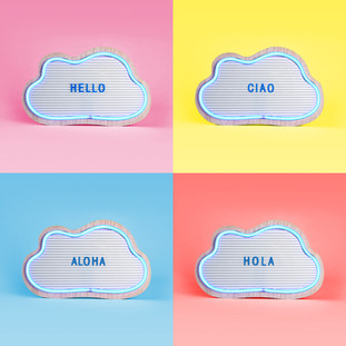 CLOUD NEON FRAMED MESSAGE BOARD