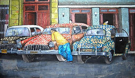 Taxi Rank.31 x 18 inch.Mixed Media Newsp