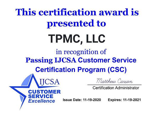 IJCSA Customer Service Certification Awa
