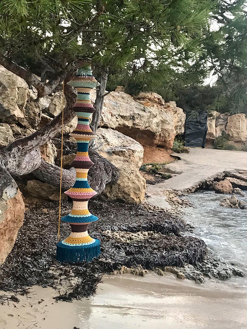 Elpelut Ibiza crochet lamp fishermanslamp at the sea