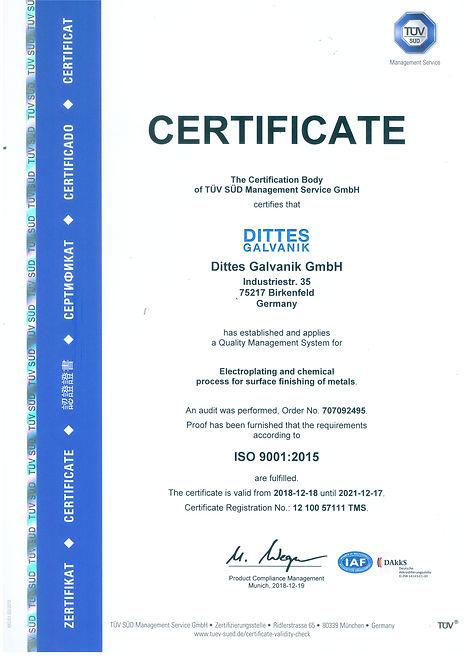 Zertifikat ISO 6001_2015 en Original Sca