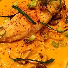 Sea bass with tom yum sauce