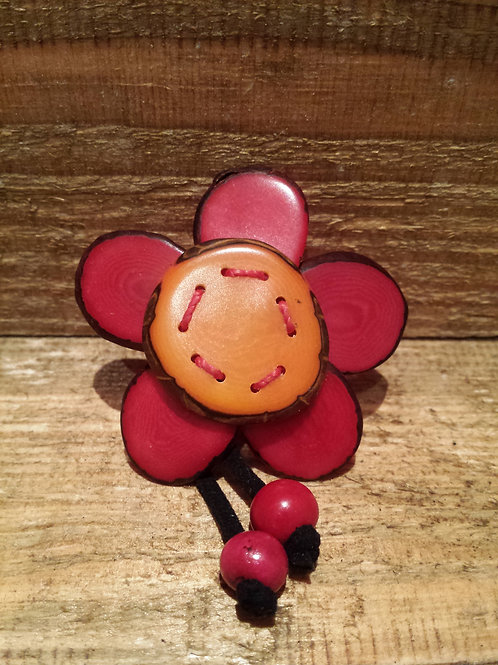 Red an orange Tagua Brooch