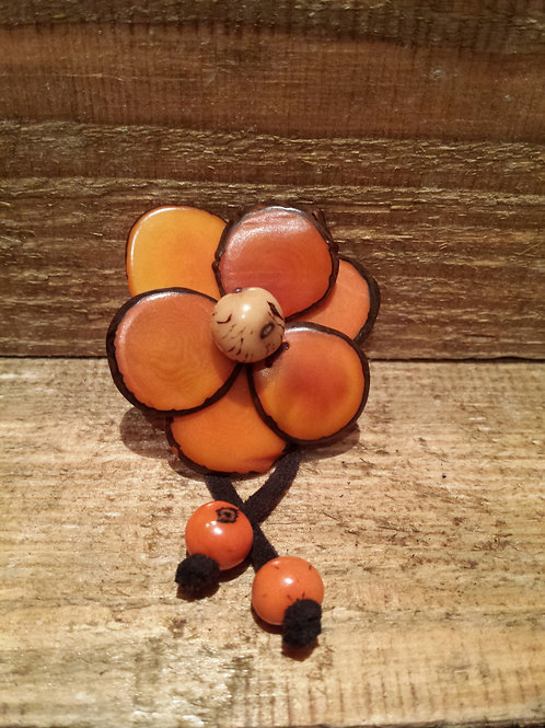 Orange Tagua Brooch