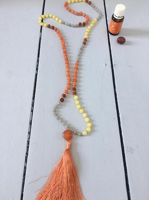 Mala necklace Jade, Rudraksha & Carnelian
