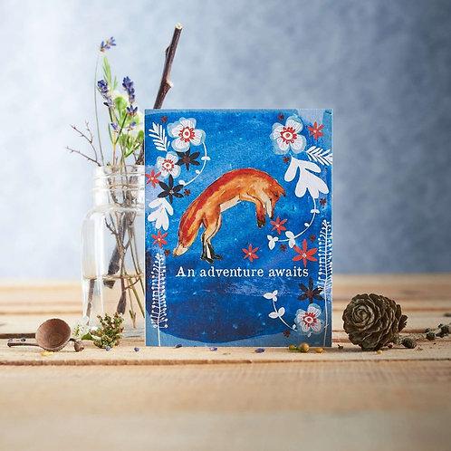 An adventure awaits, Fox - plantable seed card