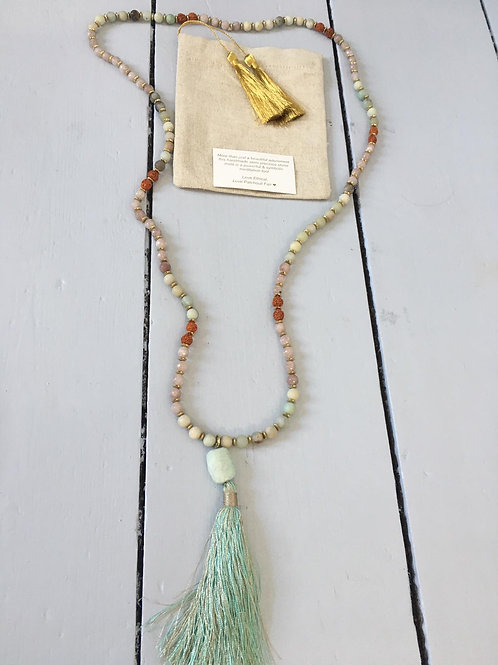 Mala necklace Jade, Rudraksha & Amazonite