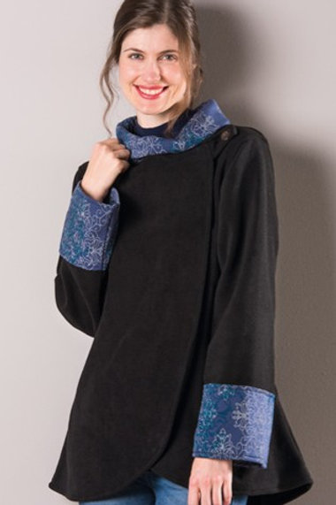 Fleece jacket with printed collar