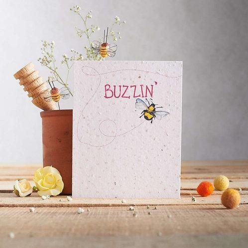 Buzzin' - plantable seed card