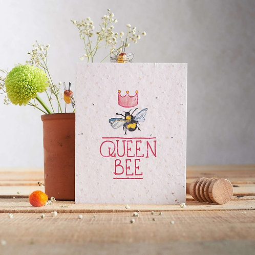 Queen bee - plantable seed card