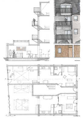 Tenement Plan. Section & Elevation