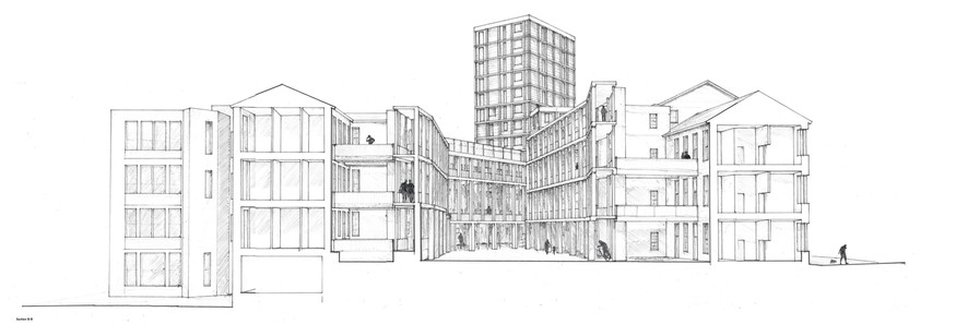 Perspective Courtyard Section