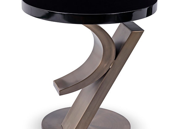 """Cosmopolitan"" lamp table Antique Brushed Bronze finish with black gloss top."