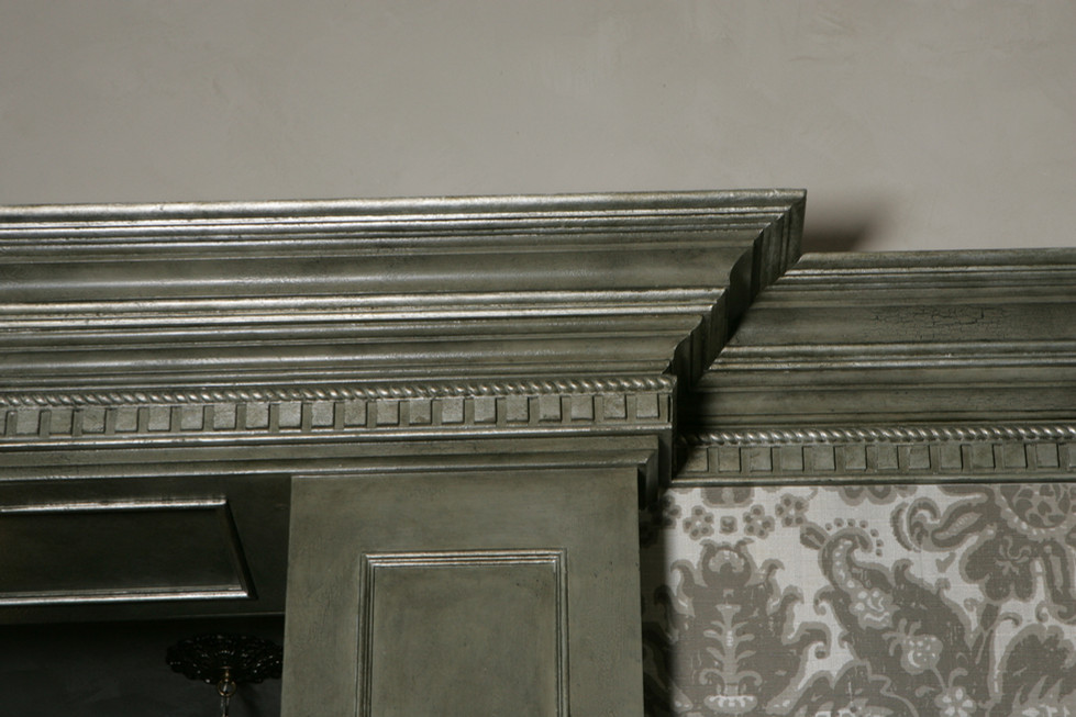 Statts crown moulding and wall paper.JPG