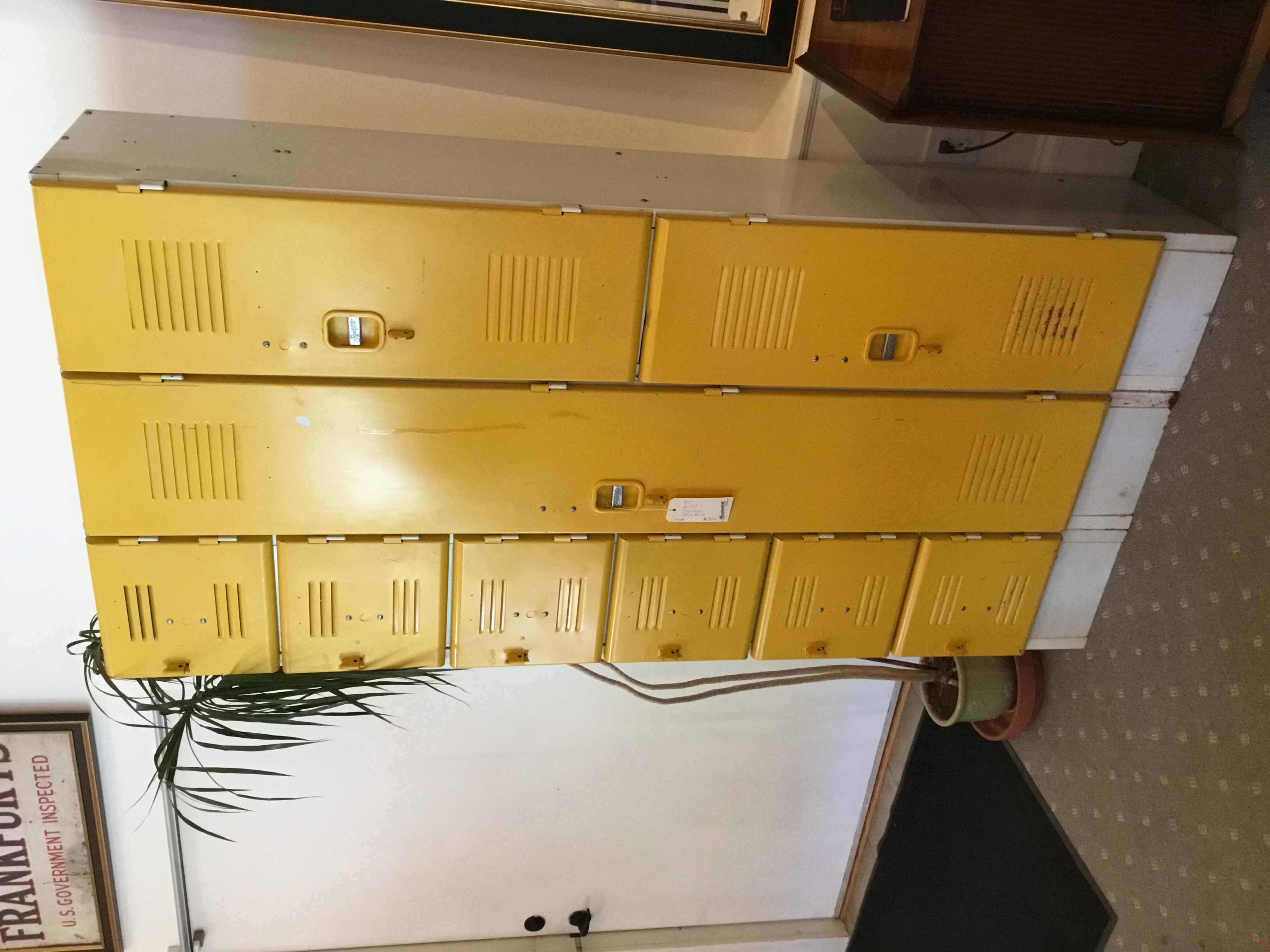 Bright yellow 80's artist's lockers