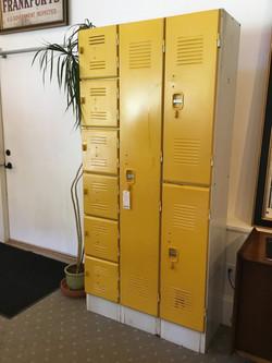 Bright yellow 80's artist's lockers