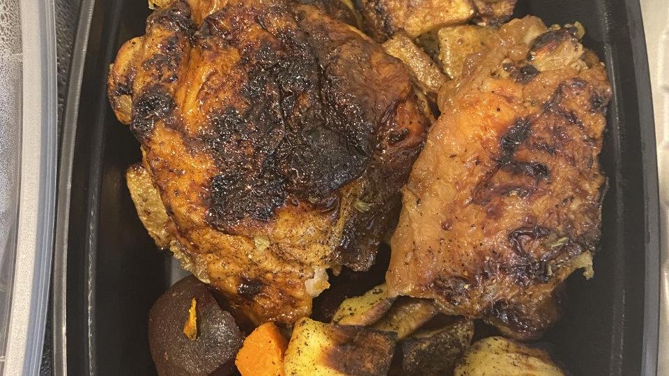 Honey Lemon Rosemary Chicken Thigs with greek poatoes and veg