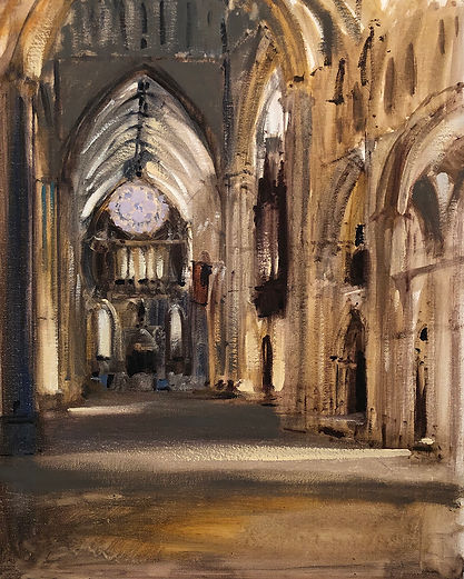 Cathedral Interior Looking North, Dominic Parczuk, Artist, Painter, Lincolnshire, Cathedral painting