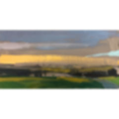 Landscape With Orange Sky , Dominic Parczuk, Artist, Painter, Lincolnshire, Landscape painting